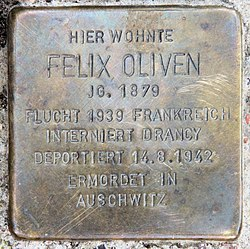 Photo of Felix Oliven brass plaque