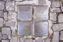 Stolpersteine for the Hinrichsen family in front of the Musikbibliothek Peters [de] in Leipzig (Source: Wikimedia)