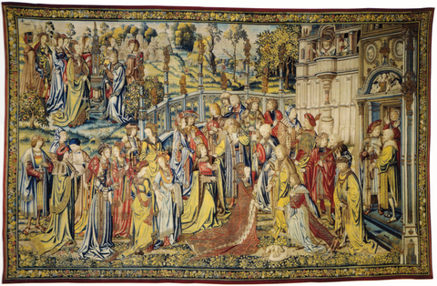 David Sees Bathsheba Washing and Invites Her to His Palace from The Story of David, Brussels, ca 1526-28 (Musee National de la Renaissance, Ecouen) Story of David tapestry David Sees Bathsheba Washing.png