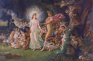 La querelle d'Oberon et de Titania.Étude de Joseph Noel Paton (v. 1849)