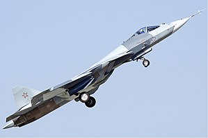 Sukhoi Su-57 - T-50 climbing after takeoff, 2011