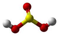 Ball-and-stick model fo sulfurous acid
