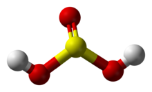 Ball-and-stick model of sulfurous acid