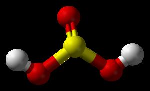 Sulfurous acid - Image: Sulfurous acid 3D balls