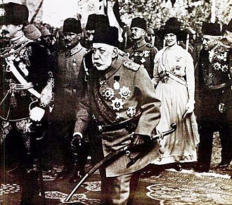 Ottoman Army (1861–1922) - Mehmed V was the titular Commander-in-Chief of the Ottoman military forces during World War I. Pictured Mehmed V hosting Charles I of Austria (left) in Constantinople