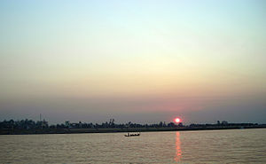 Greater Mekong Subregion - The sunrise in Mekong River in Phnom Penh, Cambodia.