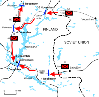Battle of Suomussalmi - Diagram of the Battle of Suomussalmi from November 30 to December 8, 1939. The Soviet 163rd Division advanced to the town of Suomussalmi.