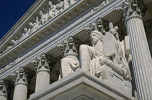 Close-up of the Supreme Court building in Wash...