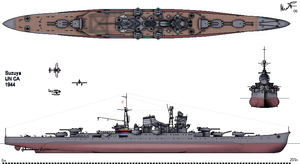 Japanese cruiser Suzuya (1934) - Line drawing of Suzuya as she appeared in 1944