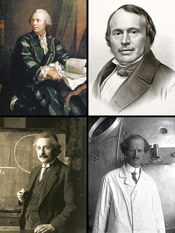 Some Swiss scientists who played a key role in their discipline (clockwise):