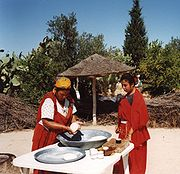 Traditional Tunisian bread being made