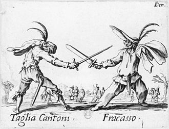 "Acting - Two masked characters from the commedia dell'arte, whose ""lazzi"" involved a significant degree of improvisation."