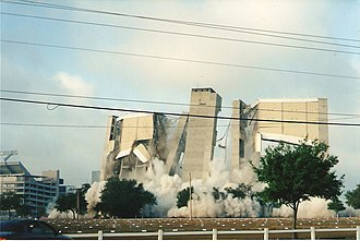 Tampa Stadium - Final stages of Tampa Stadium demolition, April 11, 1999. Note Raymond James Stadium at background left.