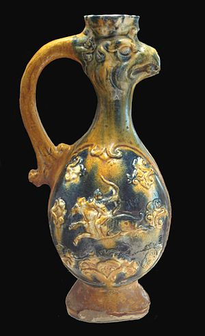 Sino-Persian relations - Tang sancai vase displaying Central Asian and Persian influence. 8-9th century. Guimet Museum.