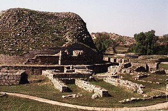 Taxila - View of the Dharmarajika, an ancient stupa