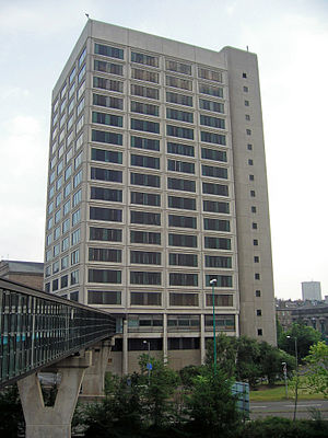 Tayside House - Tayside House with walkway to Olympia Leisure Centre shown to the left.