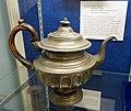 Teapot, Babbitt, Crossman & Company, c. 1827, britannia metal, wood - Old Colony History Museum - Taunton, Massachusetts - DSC04001.jpg