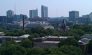 Georgia Tech main campus - Tech Tower and Georgia Tech's East Campus with Atlanta skyline in the background (Picture taken facing East)