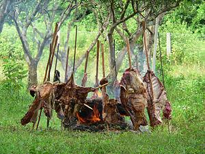 Español: Ternera a la llanera, asado de carne ...