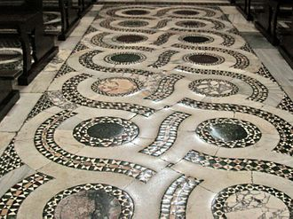 Cosmatesque - Typical opus alexandrinum guilloche floor in Cosmati style from the Cathedral at Terracina.