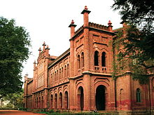 Red coloured two floored historic college building