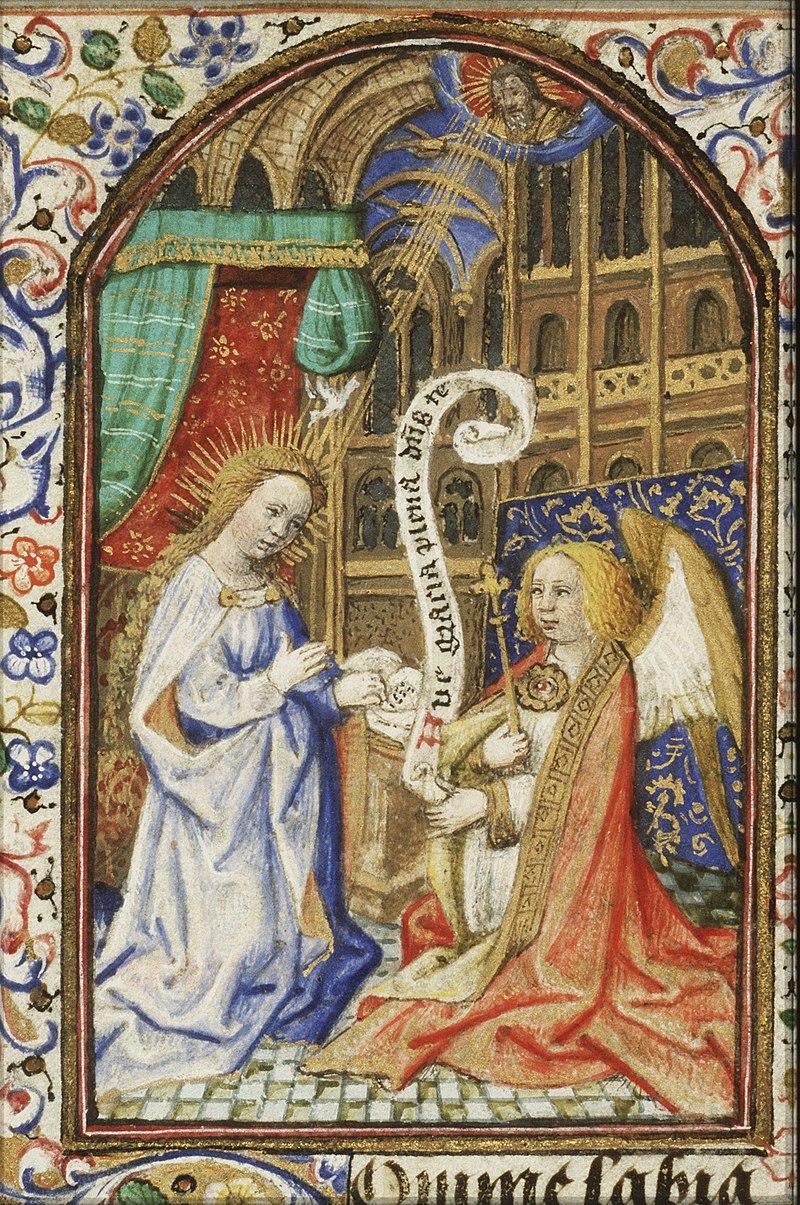 The Annunciation - Gabriel announces Christ's birth to Mary - Book of hours Simon de Varie - KB 74 G37 - 025r min.jpg