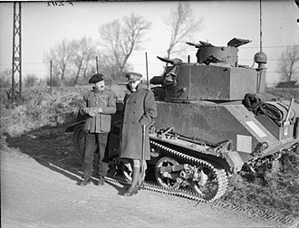 Andrew McNaughton - McNaughton and a Royal Tank Regiment officer with a Light Tank Mk VI on 11 January 1940.