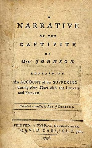Susannah Willard Johnson - The title page of the first edition of A Narrative of the Captivity of Mrs. Johnson (Walpole, NH, 1796).