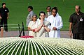 The Chairperson, National Advisory Council, Smt. Sonia Gandhi paying homage at the Samadhi of the former Prime Minister, Pandit Jawaharlal Nehru on his 48th death anniversary, at Shanti Van.jpg