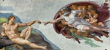 """The Creation of Adam"" painting by Michelangelo, showing Adam, reclining on the left, reaching out to touch the hand of God, who, supported by angels on the right, reaches out to touch the hand of Adam."
