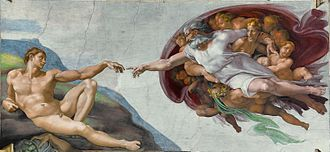 Adam and Eve - The Creation of Adam depicted on the Sistine Chapel ceiling by Michelangelo, 1508-1512
