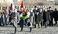 The Defence Minister, Shri A. K. Antony and the members of the Indian delegation drove down to Poklonnaya Gora (Bow-Down Hill) and laid a wreath at the World War-II Memorial, at Victory Park, in Moscow on November 18, 2013.jpg