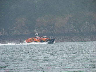 Angle, Pembrokeshire - The Lady Rank Lifeboat in Chapel Bay north of Angle in 2007