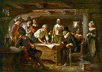Plymouth, New England, 1620. Mayflower Compact dibuat oleh pemukim Inggris untuk memperkenalkan bentuk pemerintahan demokrasi ke Dunia Baru.