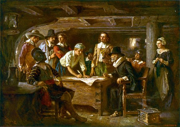 The first self-governing document of Plymouth Colony. English Pilgrims signing the Mayflower Compact in 1620. The Mayflower Compact 1620 cph.3g07155.jpg