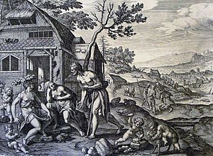 Lamech (descendant of Cain) - Lamech and his two wives from The Phillip Medhurst Picture Torah