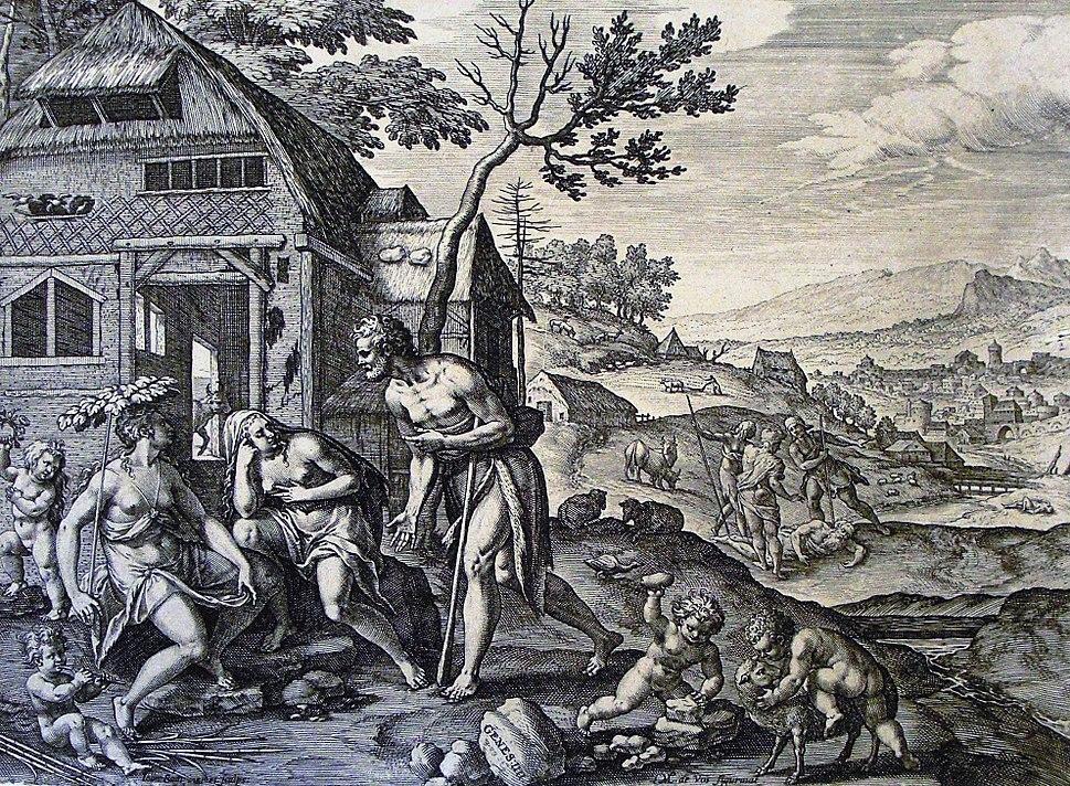 The Phillip Medhurst Picture Torah 39. Lamech and his two wives. Genesis cap 4 v 19. De Vos