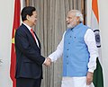 The Prime Minister, Shri Narendra Modi shaking hands with the Prime Minister of Socialist Republic of Vietnam, Mr. Nguyen Tan Dung, before commencement of delegation-level talks, in New Delhi on October 28, 2014.jpg