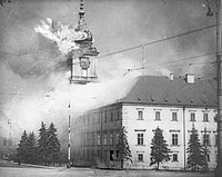 The Royal Castle in Warsaw - burning after German shellfire 17.09.1939