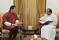 The Union Finance Minister, Shri P. Chidambaram meeting the King of Bhutan, His Majesty Jigme Khesar Namgyel Wangchuck, in New Delhi on January 07, 2014.jpg