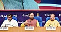 The Union Minister for Human Resource Development, Shri Prakash Javadekar addressing a press conference on the achievements of the Ministry of HRD, during the last four years, in New Delhi.JPG