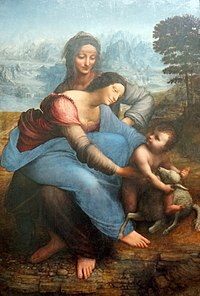 The Virgin and Child with Saint Anne painting by Leonardo da Vinci - Musée du Louvre - Paris, France.jpg