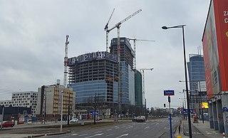 complex of mixed-use buildings under construction by Belgian real estate developer Ghelamco in Warsaw, Poland