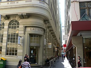 Causeway Lane, Melbourne - Causeway Lane, looking north from Little Collins, with the former Union Bank on the left