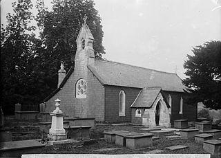 The church, Nantglyn showing the grave of John Davies
