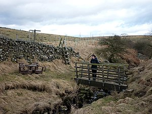 English: The crossing of Holes Beck Left of th...