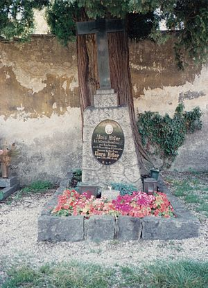 Alois Hitler - The Hitlers' tombstone photographed c.1984