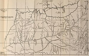 Mary Draper Ingles - Map by historian Charles A. Hanna showing Mary Ingles' escape route through the mountains (1911).