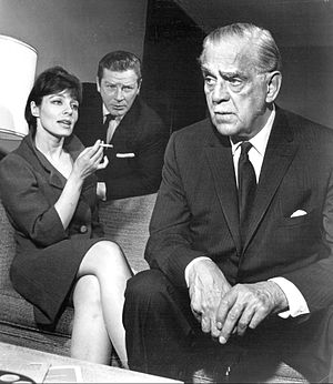 "Viveca Lindfors - Viveca Lindfors, Richard Basehart and Boris Karloff in a Theatre '62 episode, ""The Paradine Case"" (1962)"