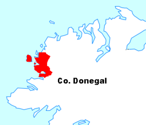 The Rosses - The Rosses region (in red) within County Donegal